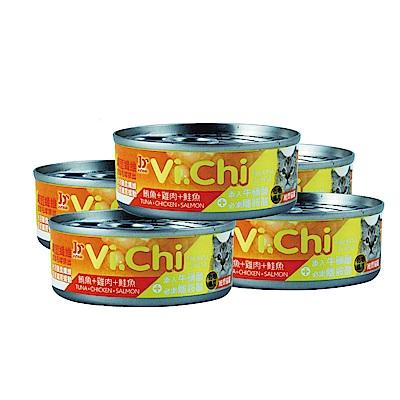 pet story-寵愛物語Vi.Chi維齊化毛 貓罐頭 鮪魚+雞肉+鮭魚80G(24罐)