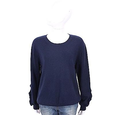 ALLUDE 喀什米爾荷葉細節深藍色針織羊毛衫