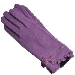 CLATHAS 優雅羊革蝴蝶結logo安哥拉毛尼手套(紫)