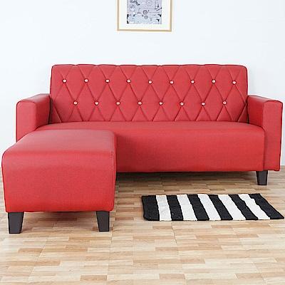 Homelike 露絲L型貓抓皮沙發(貴族紅)-181x167x85cm