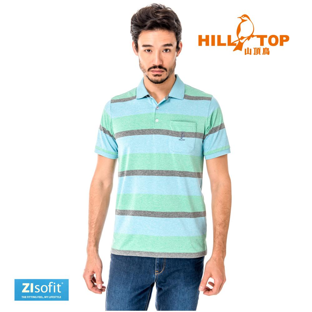 【hilltop山頂鳥】男款吸濕排汗抗UV彈性POLO衫S14MF6-藍混紡