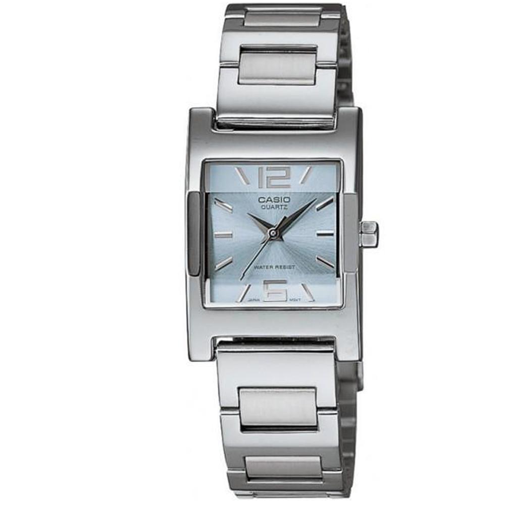CASIO 方采淑女知性女錶腕(LTP-1283D-2A)-水藍/20mm