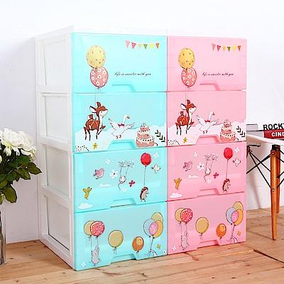 HOUSE 夜燈功能-甜蜜派對 四層玩具衣物收納櫃