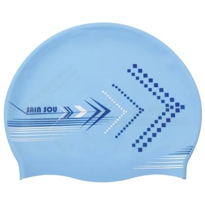 泳裝 泳帽 勇往直前藍色矽膠泳帽 聖手牌