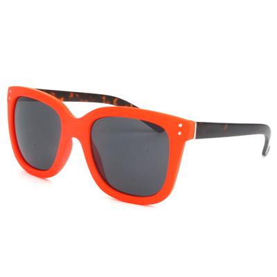 梨花HaNA 韓系街頭超百搭方框小圓釘太陽眼鏡-螢光豹紋粉橘