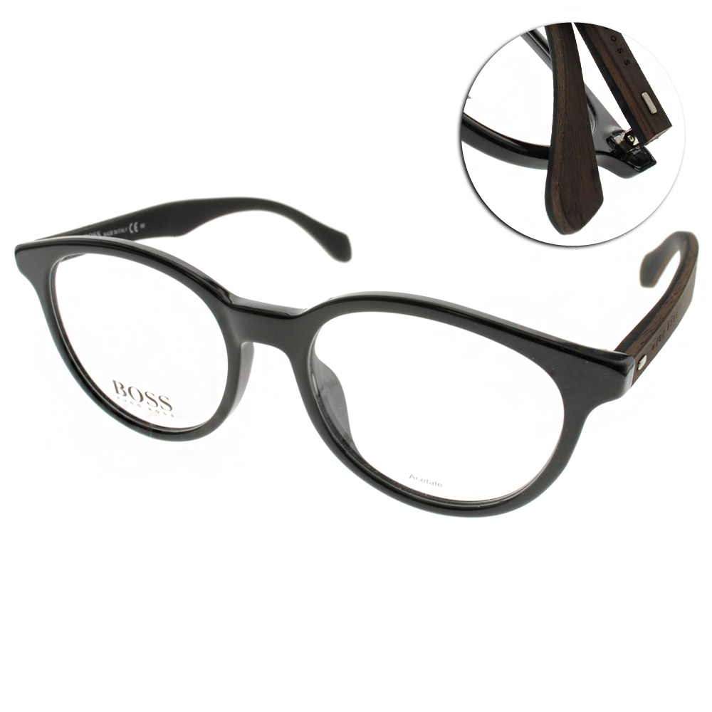 HUGO BOSS眼鏡 時尚經典/亮黑-木紋#HB0817F RAJ