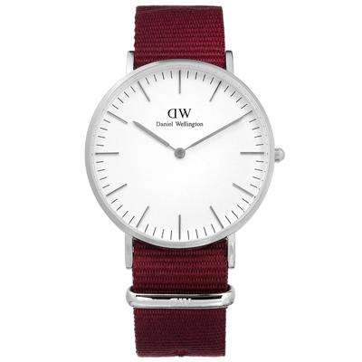 DW Daniel Wellington Classic尼龍手錶-白x紅/36mm