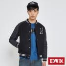 EDWIN 毛呢棒球外套-男-黑灰色