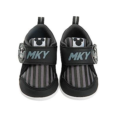 迪士尼 米奇 復古條紋造型 學步鞋-黑