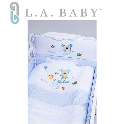 【美國 L.A. Baby】向日葵花園純棉七件套寢具組(M)( 藍色)