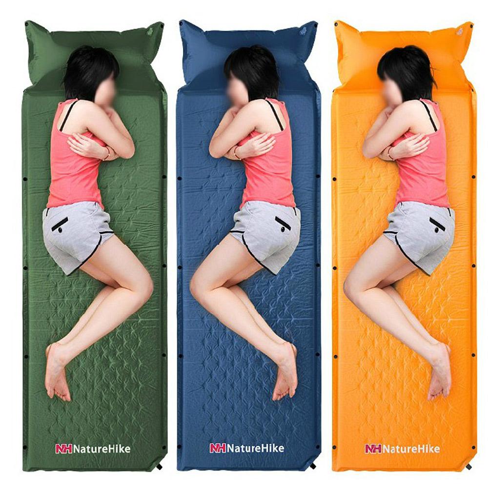 PUSH!戶外用品加寬可拼接自動充氣立體排汗透氣菱形打點睡墊床墊野餐墊瑜伽墊