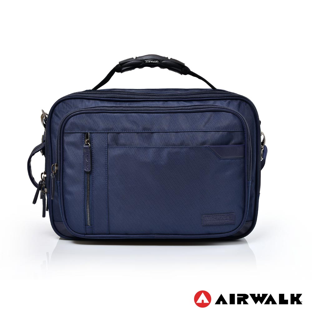 AIRWALK - 筆電公事包 MOVECITY 斜紋防潑水夾層兩用後背包(大) - 深藍