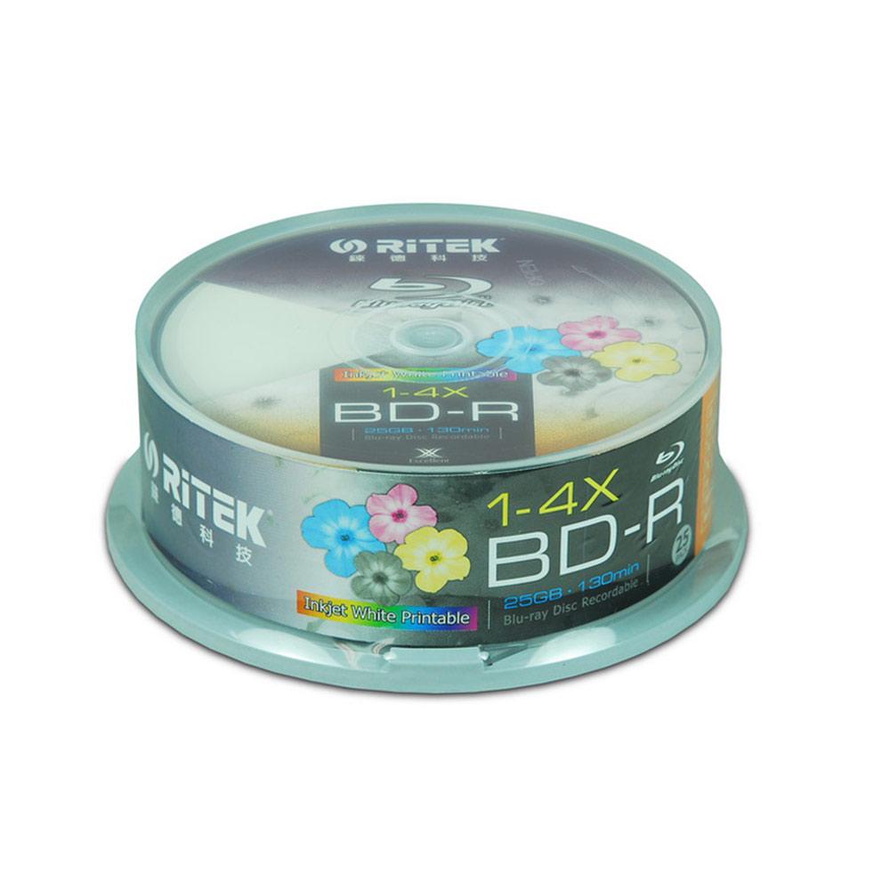 25片 RiTEK錸德 4X BD-R 滿版可印式Blu-ray藍光片(布丁筒)