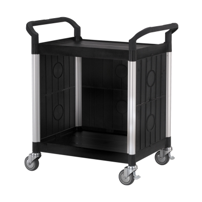 100%台灣製 標準多功能二層三面圍邊工具餐車/手推車/置物架-經典黑