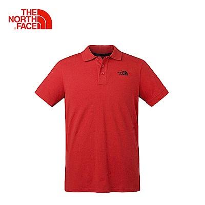The North Face北面男款紅色戶外休閒短袖POLO衫