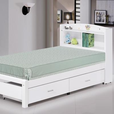 品家居 悠娜3.5尺白色單人收納床台(不含床墊)