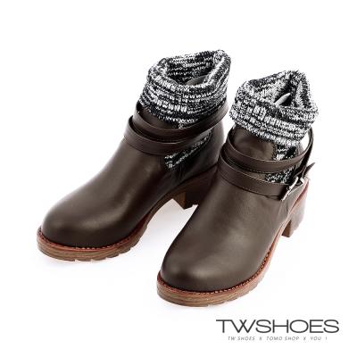 TW Shoesx正韓空運-反摺針織襪繫帶扣環短靴-棕