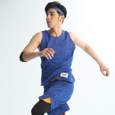 FIVE UP(男)-雙面穿吸排籃球背心-中藍