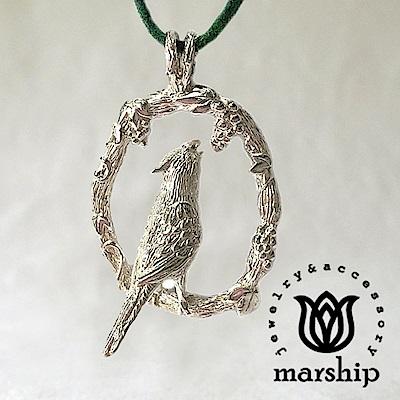 Marship 日本銀飾品牌 葡萄與鸚鵡皮革項鍊  925 純銀 亮銀款
