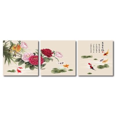 24mama掛畫 - 三聯無框圖畫藝術家飾品- 牡丹花品 60x60cm