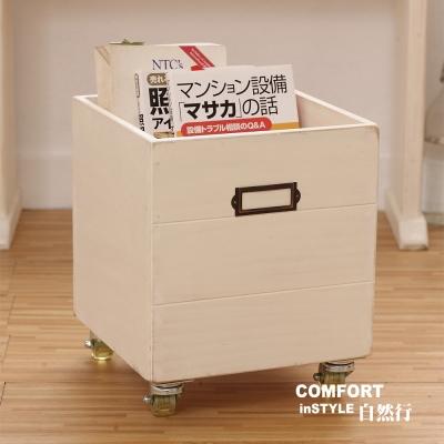 CiS自然行實木家具 收納箱-玩具箱-檔案夾收納-附輪(南法象牙白色)