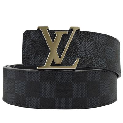 LV M9210S 黑棋盤格紋紋路易威登字母飾扣皮帶