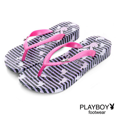 PLAYBOY夏日印象 小兔子印花夾腳拖鞋-紫(女)