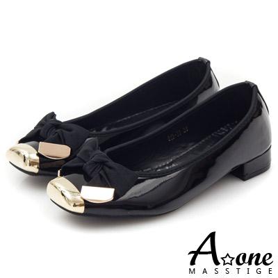 A-one-拼接漆皮織緞蝴蝶結方頭平底鞋-氣質黑