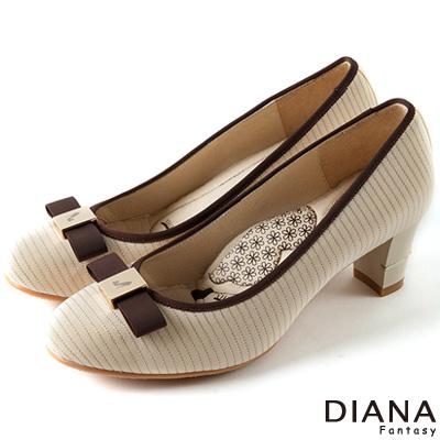 DIANA-超厚切LADY款-銀線針織線條跟鞋-米