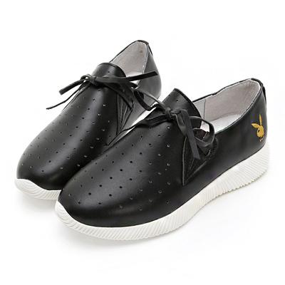 PLAYBOY軟芯風采 綁帶舒適真皮休閒鞋-黑