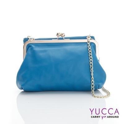 YUCCA - 軟牛皮復古轉釦拉鍊雙層鍊帶包-藍色-D012724
