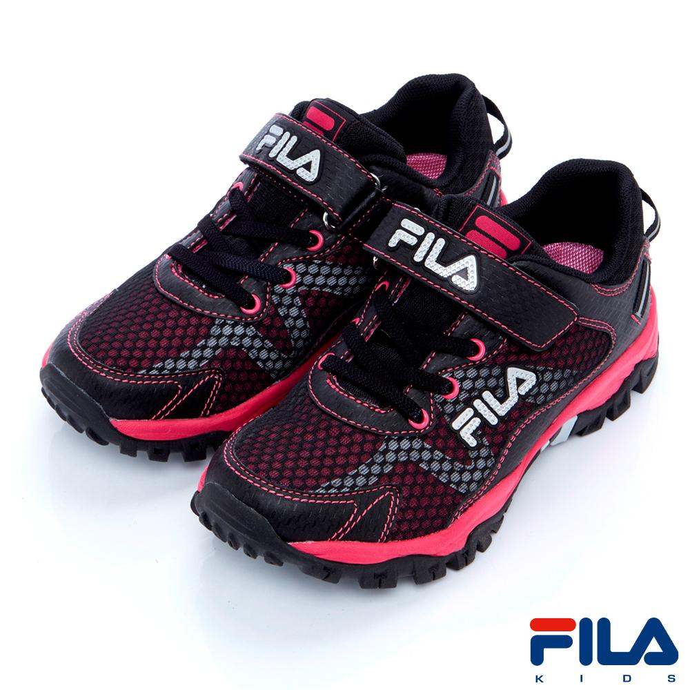 FILA KIDS 大童戶外越野跑鞋-黑桃3-X814R-024