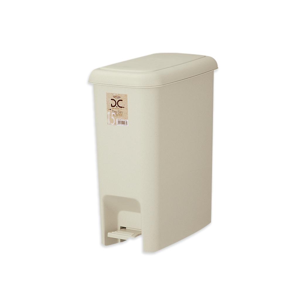 【Lustroware】日本進口腳踏式垃圾桶16.3L(象牙色)