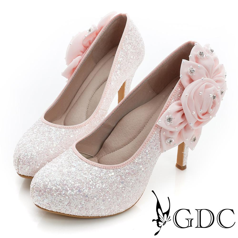 GDC幸福-立體花朵造型亮片真皮高跟鞋(婚鞋)-粉色