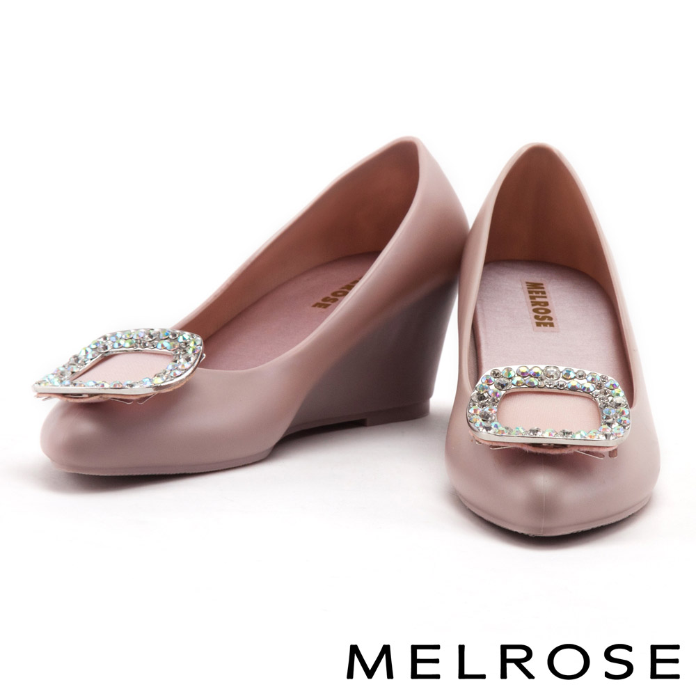 楔型鞋 MELROSE 閃耀方鑽果凍材質香香楔型鞋-粉