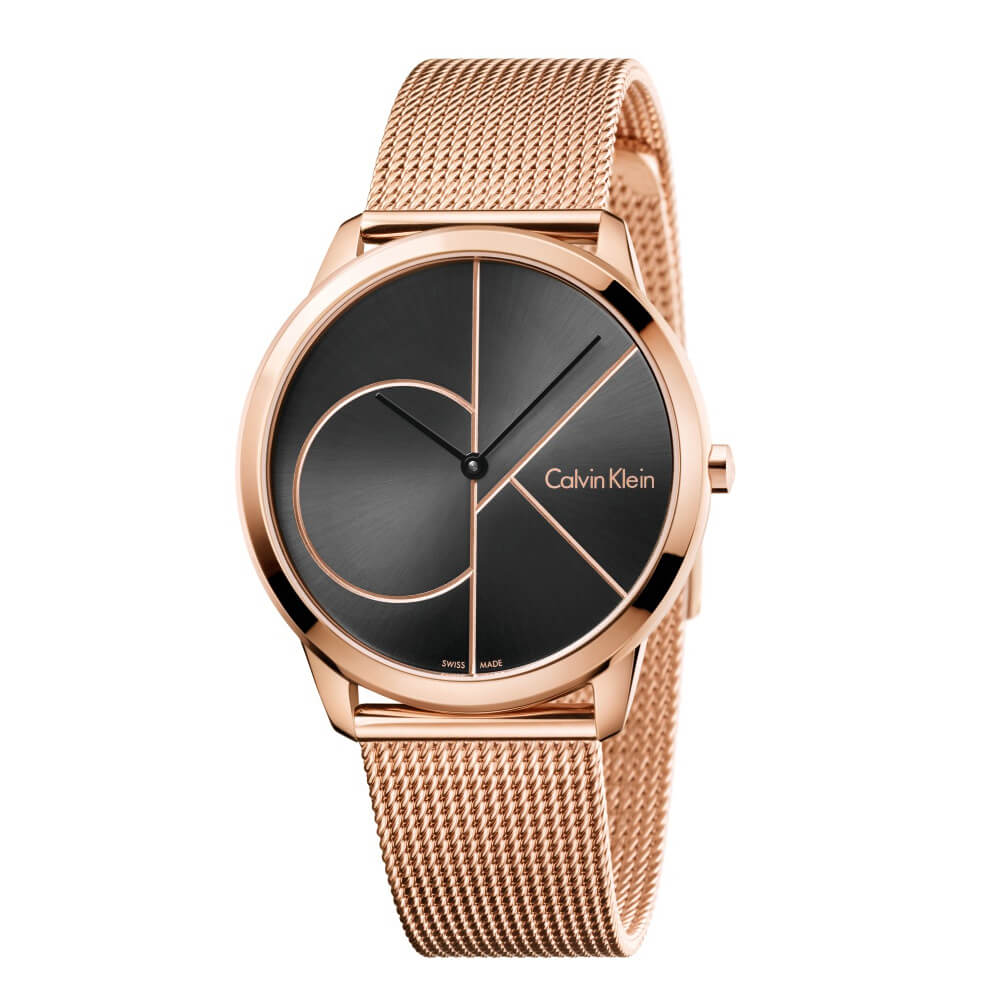 CK CALVIN KLEIN Minimal 系列 cK Logo 黑色鍍玫瑰金手錶-40mm