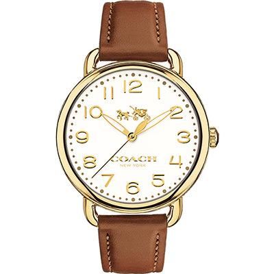 Coach Delancey 紐約摩登女錶-金框x咖啡/36mm
