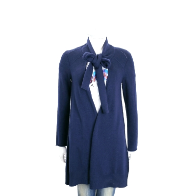 MARELLA 深藍色混紡羊毛領結長版外套