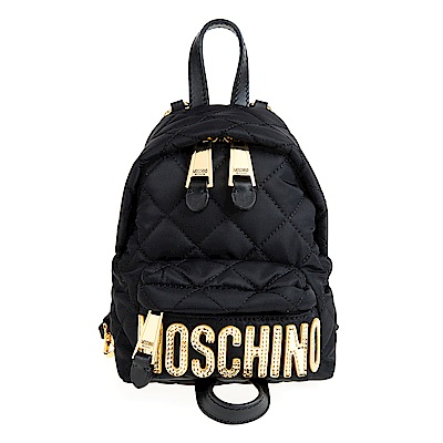 MOSCHINO 菱格紋縫線金字LOGO尼龍斜揹/後背包 (黑色/mini)
