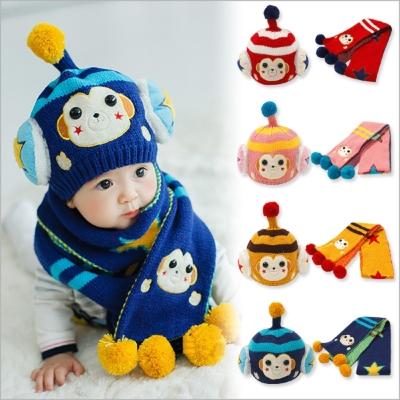 韓國人氣機器猴毛線帽+圍巾兩件組