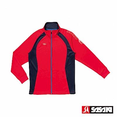 SASAKI 吸濕排汗功能伸縮針織運動夾克-男-紅/丈青