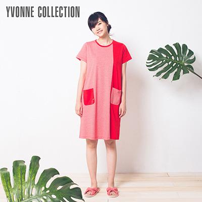 YVONNE純棉細條紋休閒拼接洋裝- 紅