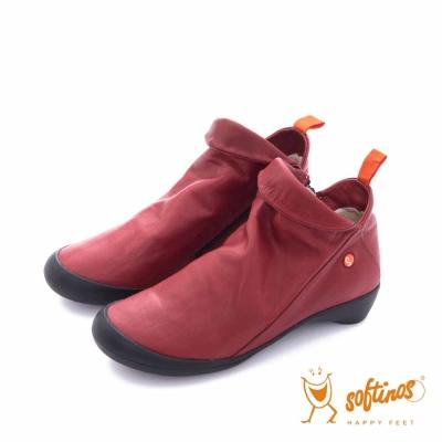 Softinos(女) HAPPY FEET 反摺牛皮踝短靴鞋 -精靈紅