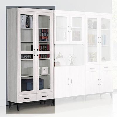 H&D 鋼刷白2.6尺雙門書櫥 (寬80.8X深39.8X高192.5cm)