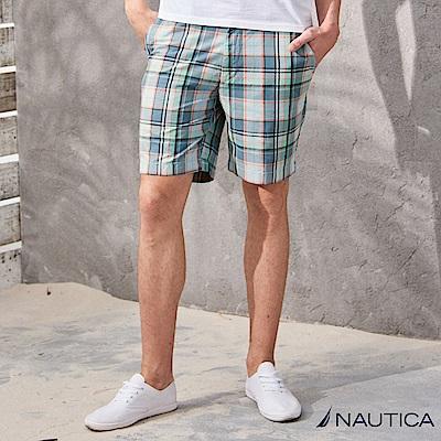 Nautica復古藍格紋休閒短褲-藍格紋