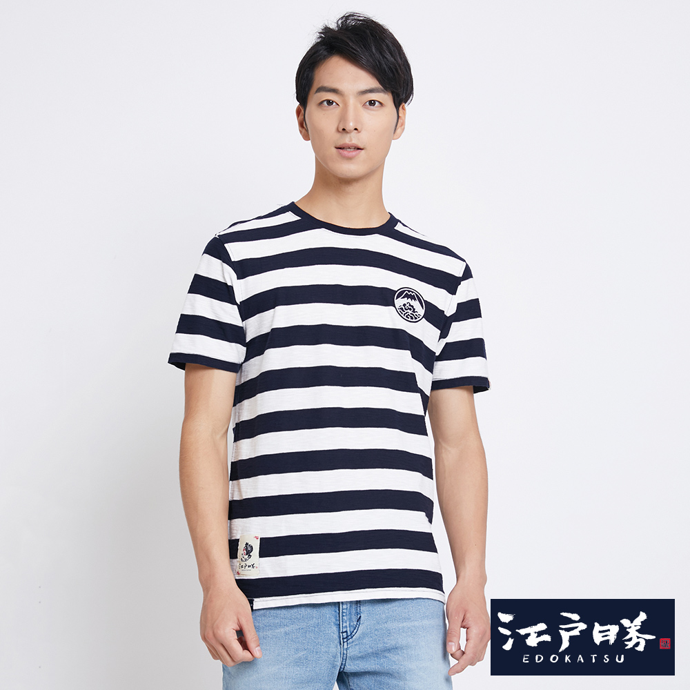 EDO KATSU江戶勝 橫條徽章短袖T恤-男-米白