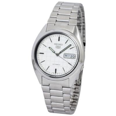 SEIKO-盾牌5號格紋機械錶-SNXF05k-白-38mm