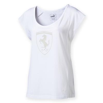 PUMA-女性法拉利經典系列同色大盾牌短袖T恤-白色-歐規