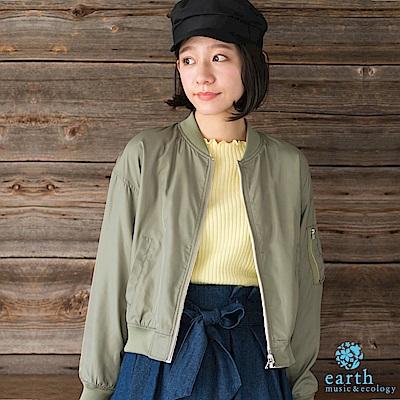 earth music 2WAY花朵刺繡X素面MA-1夾克外套