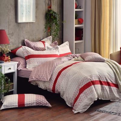 摩斯密碼-紅-精梳棉-加大四件式兩用被床包組